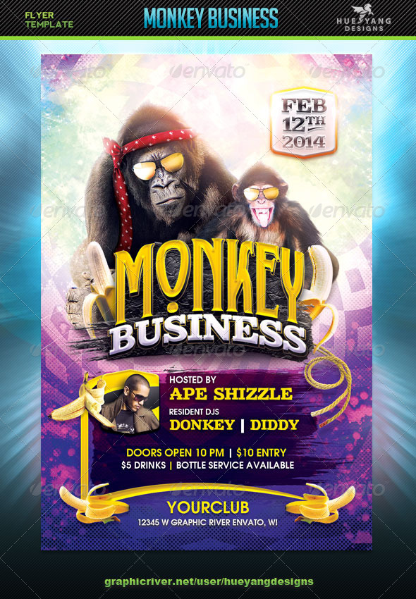 Monkey Business Flyer - Clubs & Parties Events