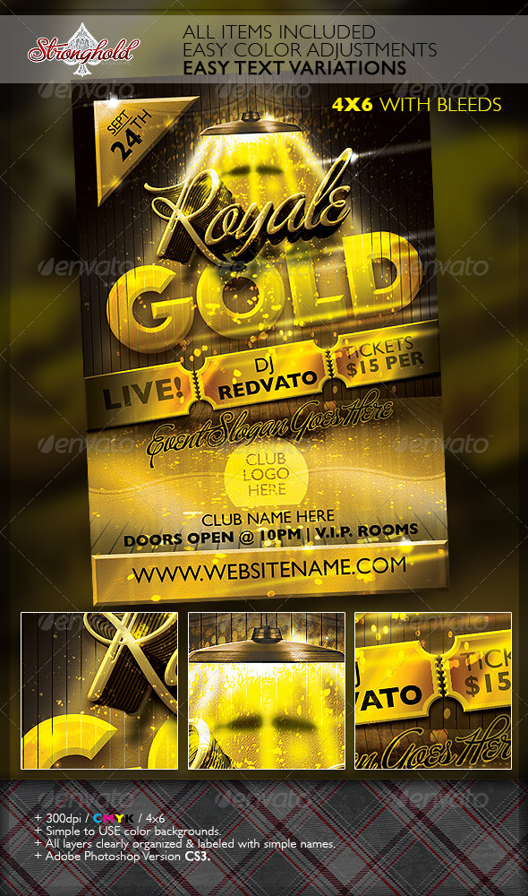 Royale Gold Ticket Party Flyer Template - Clubs & Parties Events