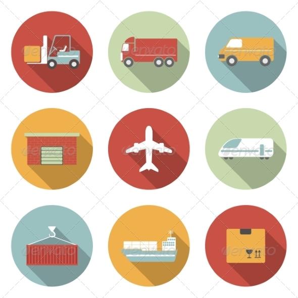 Transportation Flat Icons - Web Elements Vectors