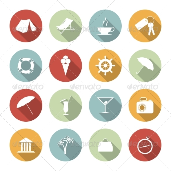 Traveling and Vacation Flat Icons - Web Elements Vectors