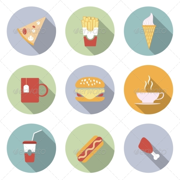 Food Flat Vector Icons - Web Elements Vectors