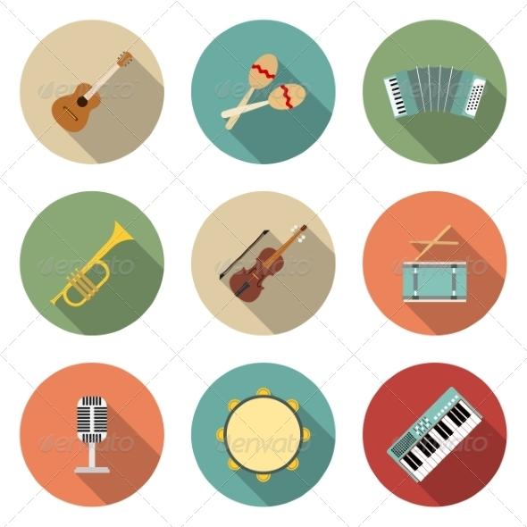 Musical Instruments Icons - Web Elements Vectors