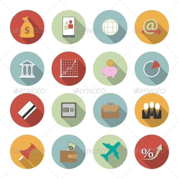 Office and Business Vector Flat Icons - Web Elements Vectors