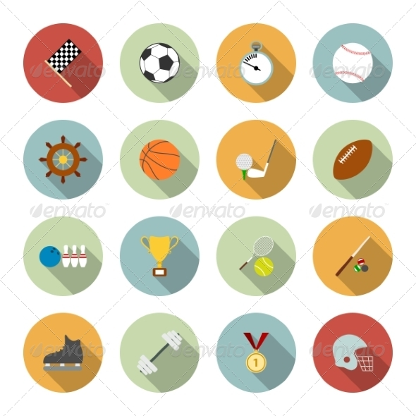 Sports Flat Icons - Web Elements Vectors
