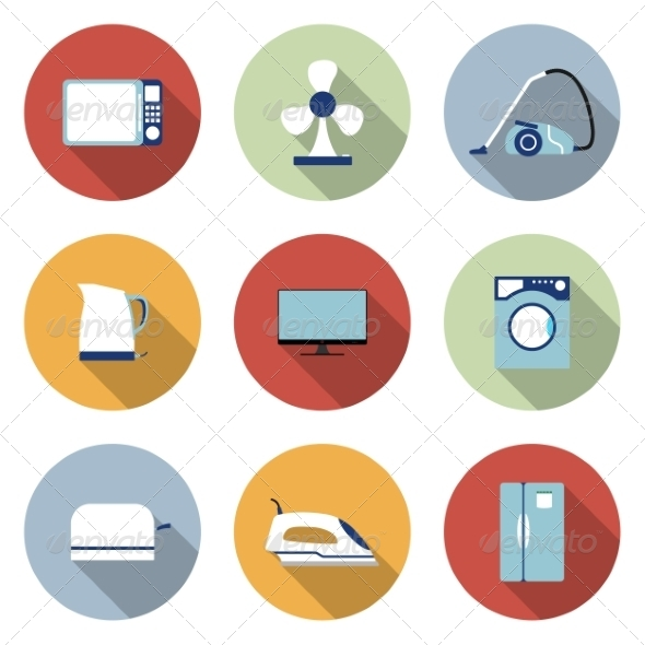 Household Flat Icons - Web Elements Vectors