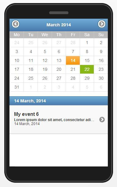 jquery mobile event calendar by ubient codecanyon. Black Bedroom Furniture Sets. Home Design Ideas
