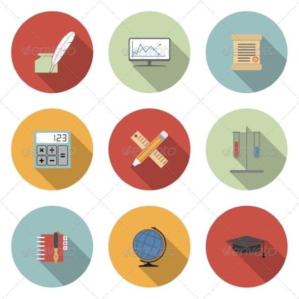 School and Education Vector Flat Icons Set - Web Elements Vectors