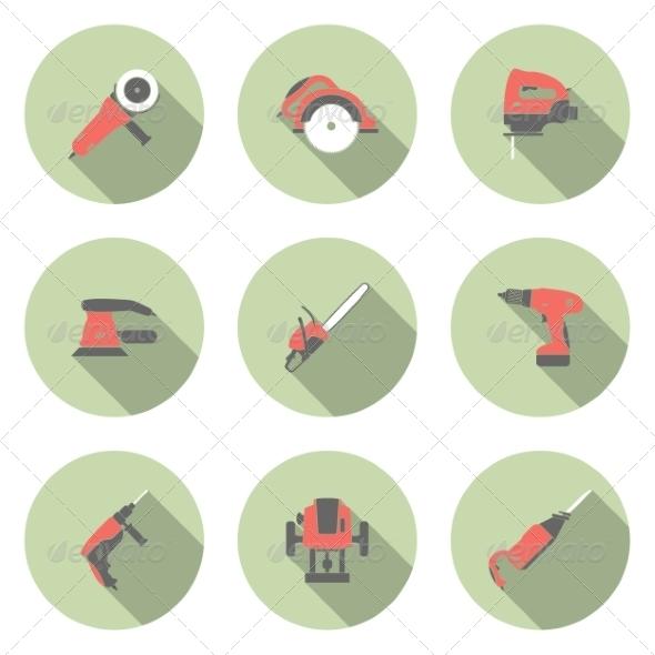 Electric Tool Icons - Web Elements Vectors