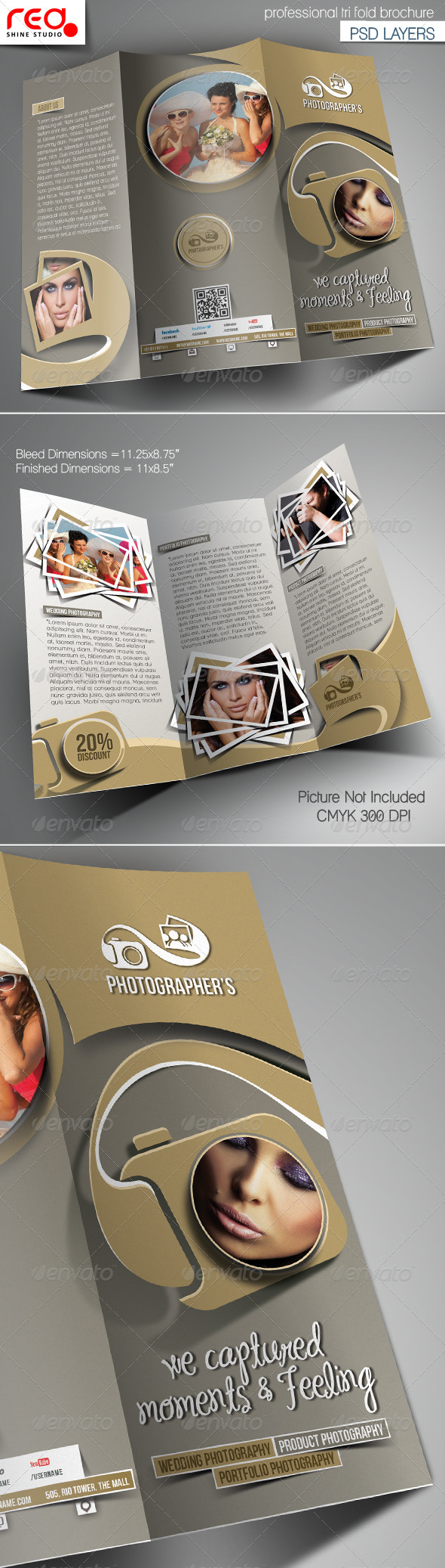Photography Studio Trifold Brochure Template - Corporate Brochures