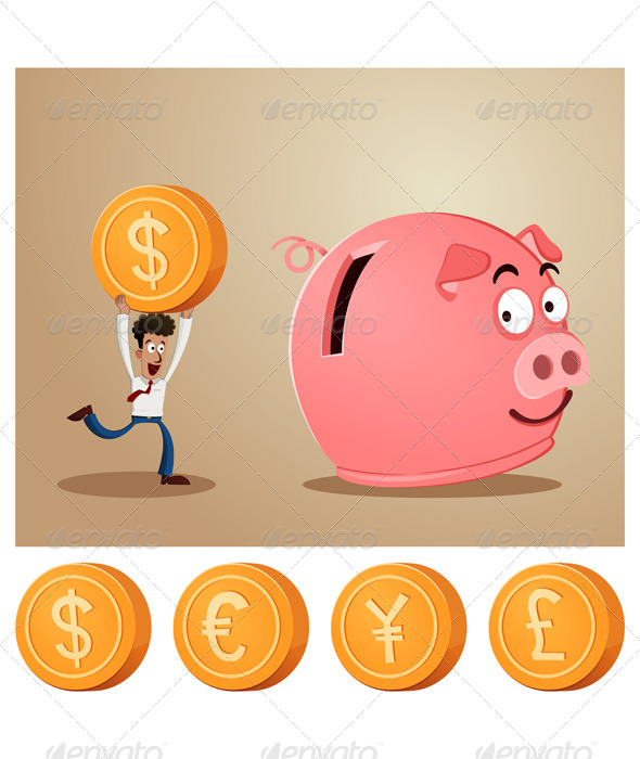Saving Money Into Piggybank - Concepts Business