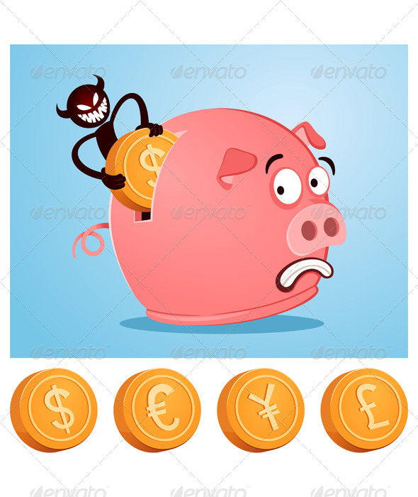 Stealing Money From Piggybank - Concepts Business