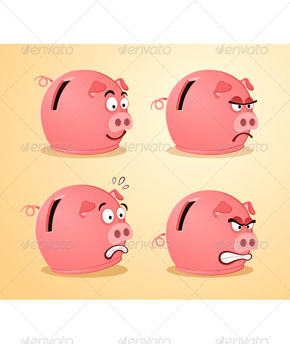 Various Expression of Piggybank - Concepts Business