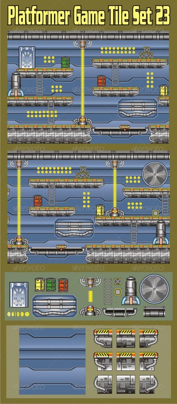 Platformer Game Tile Set 23 - Tilesets Game Assets