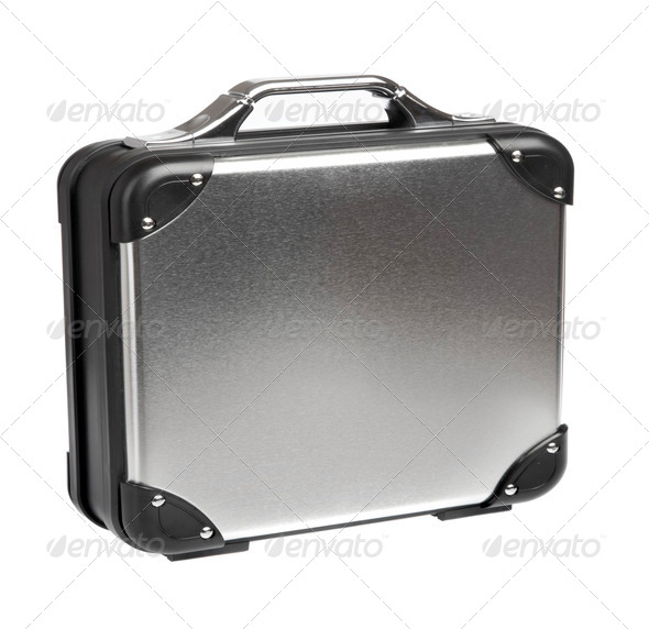Metal suitcase on a white background - Stock Photo - Images