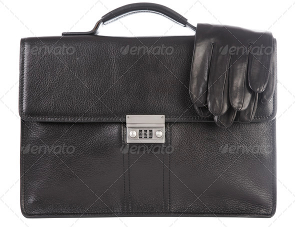 Man's a brief case and gloves - Stock Photo - Images