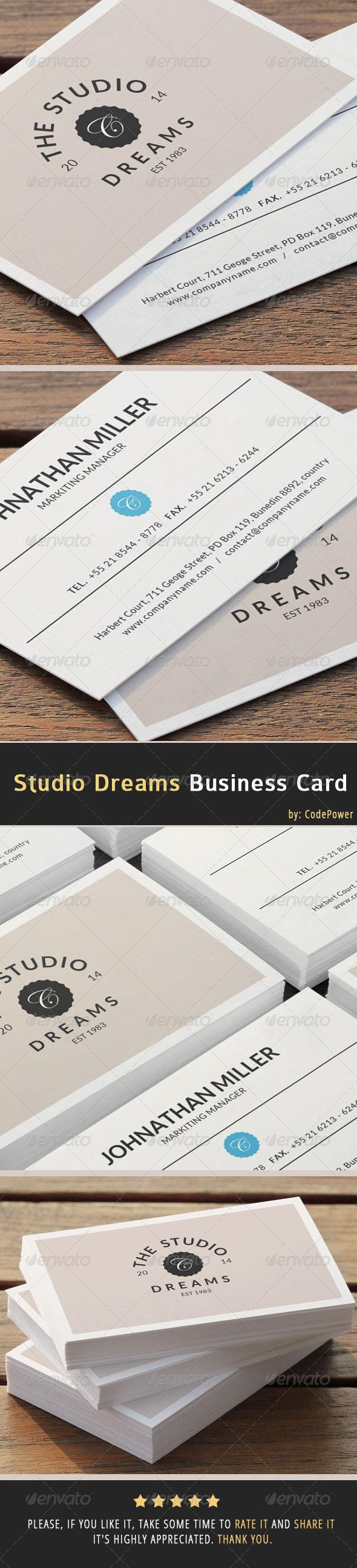 Studio Dreams Business Card - Creative Business Cards