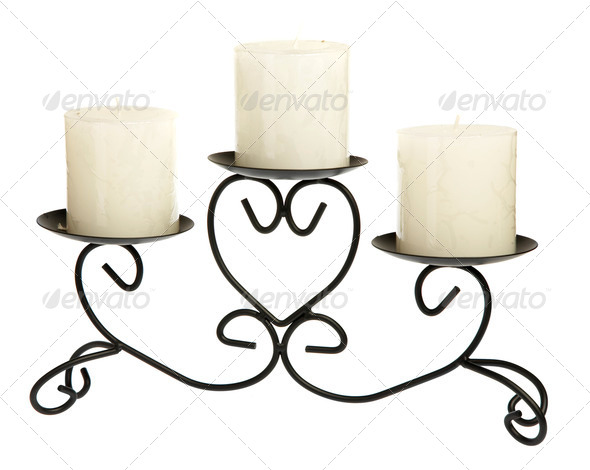 Candlestick with candles on a white background - Stock Photo - Images
