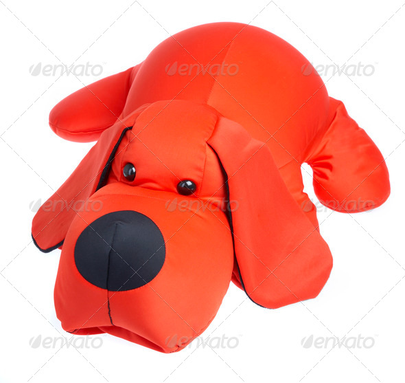 Red toy dog on a white background - Stock Photo - Images