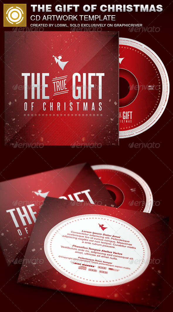The Gift of Christmas CD Artwork Template - CD & DVD Artwork Print Templates