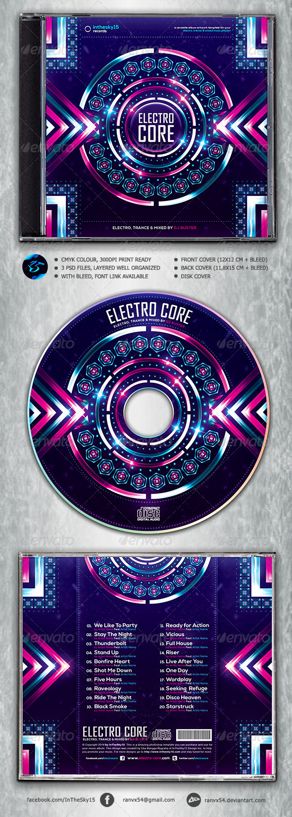 Electro Core CD Album Artwork - CD & DVD Artwork Print Templates