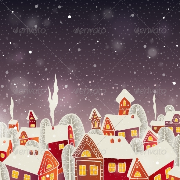 Christmas Background with Houses - Christmas Seasons/Holidays