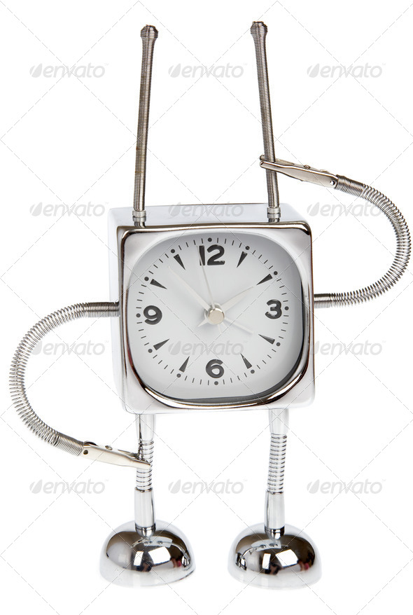 Metal alarm-clock on a white background - Stock Photo - Images