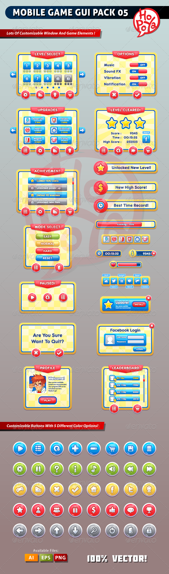 Mobile Game GUI Pack 05 - User Interfaces Game Assets