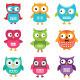Owls Set  - GraphicRiver Item for Sale
