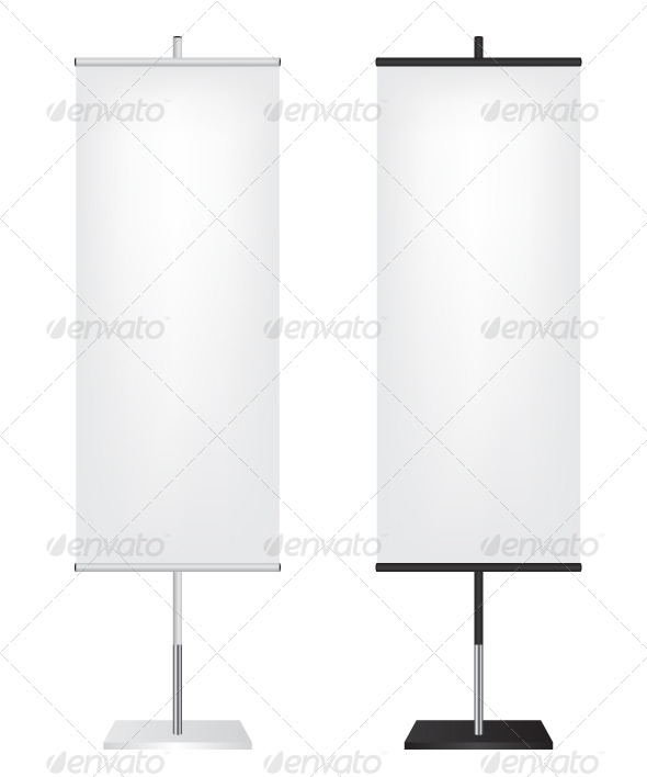 Roll Up Flags Banner  - Objects Vectors