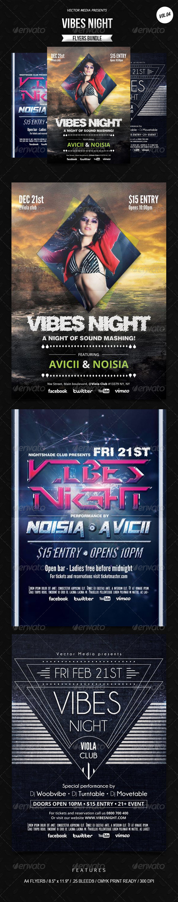 Vibes Night - Flyers Bundle [Vol.4] - Clubs & Parties Events