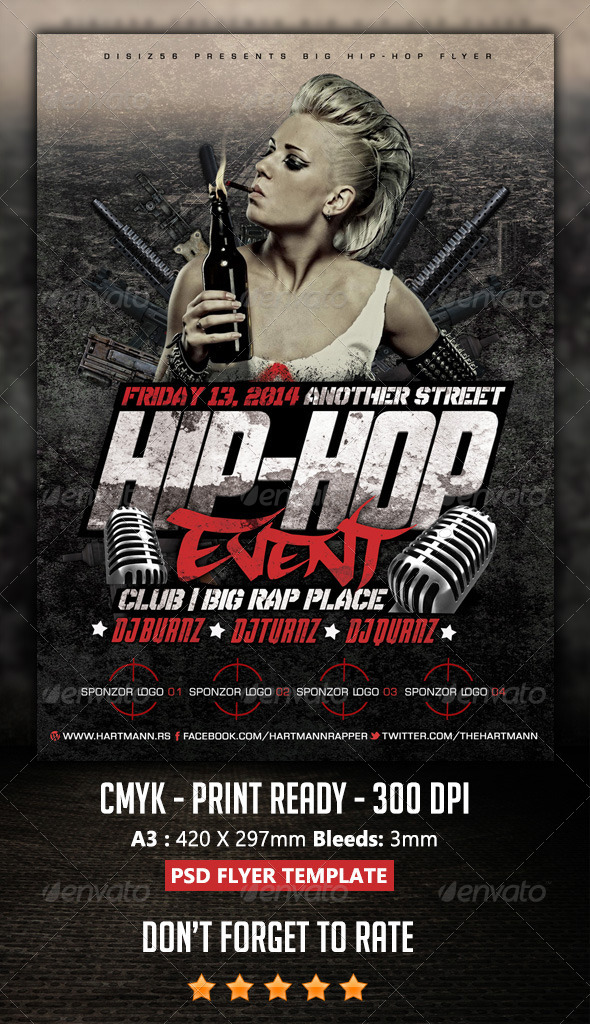 Hip Hop Flyer By Hartmanns Graphicriver