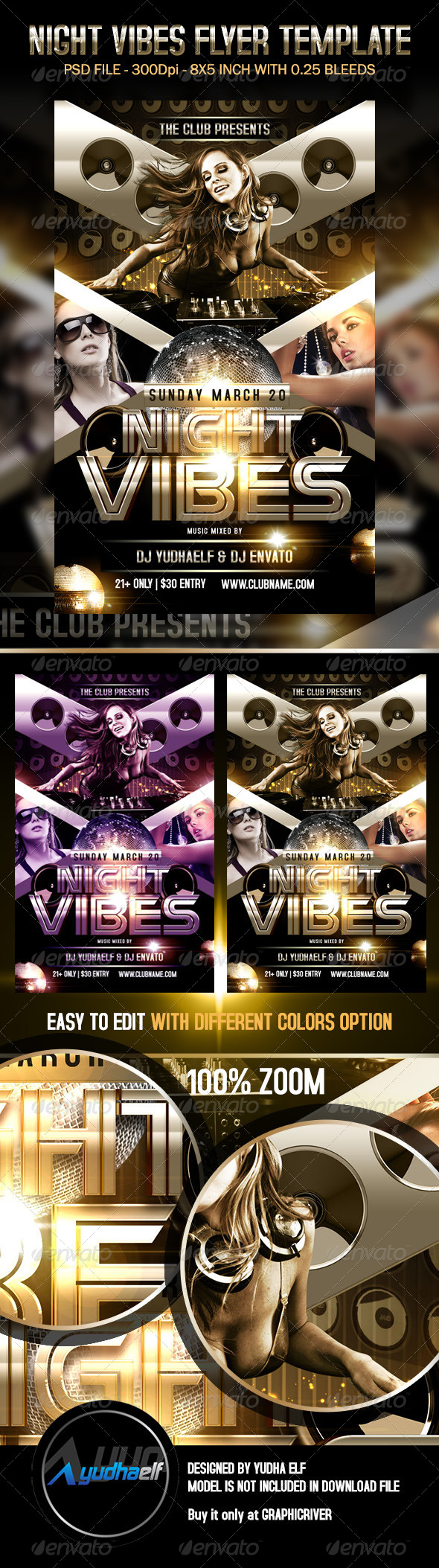 Night Vibes Flyer Template - Clubs & Parties Events