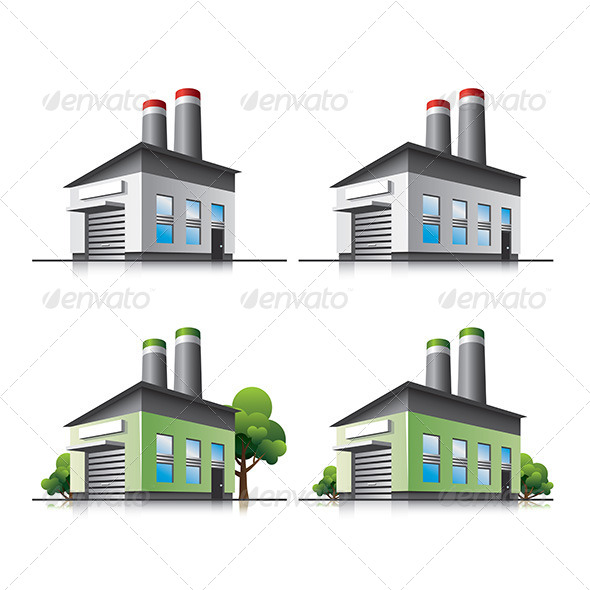 Factory Cartoon Icons - Buildings Objects