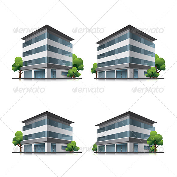 Hotel or Office Buildings with Trees - Buildings Objects
