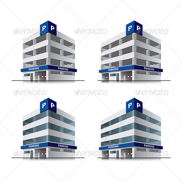Cartoon Car Parking Buildings - Buildings Objects