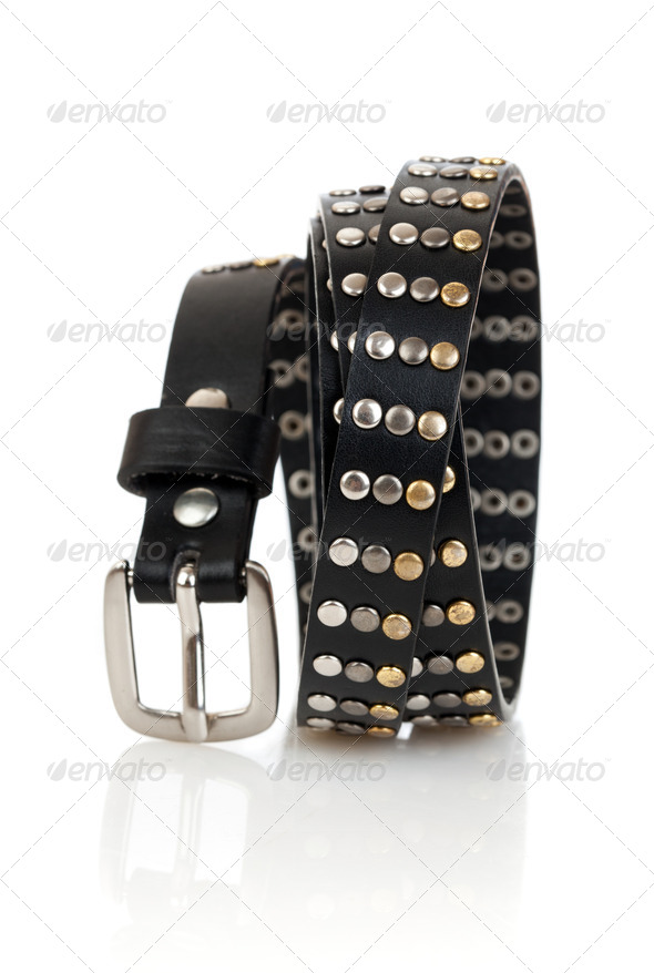 Leather belt isolated on the white - Stock Photo - Images