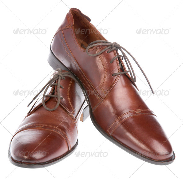 Man's boot on a white background - Stock Photo - Images