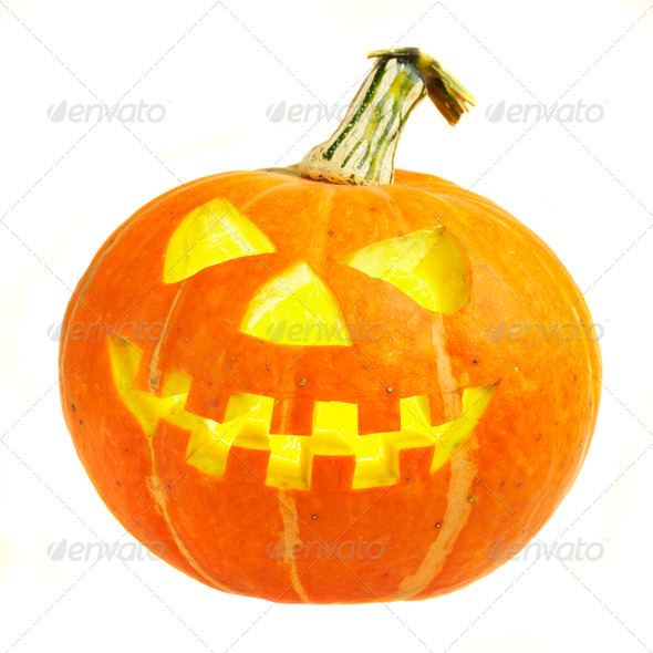 A scary old jack-o-lantern on white. - Stock Photo - Images
