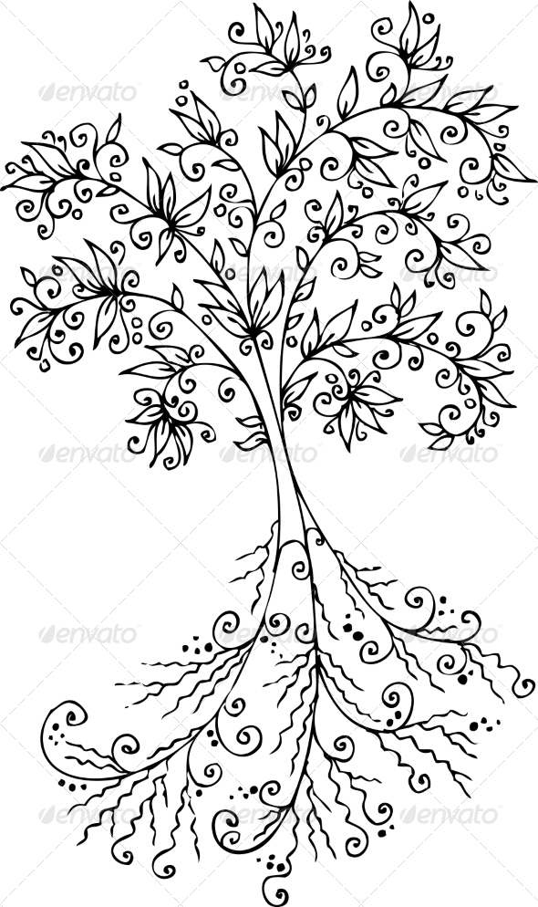 Floral Decorative Tree Vignette #300 - Flowers & Plants Nature