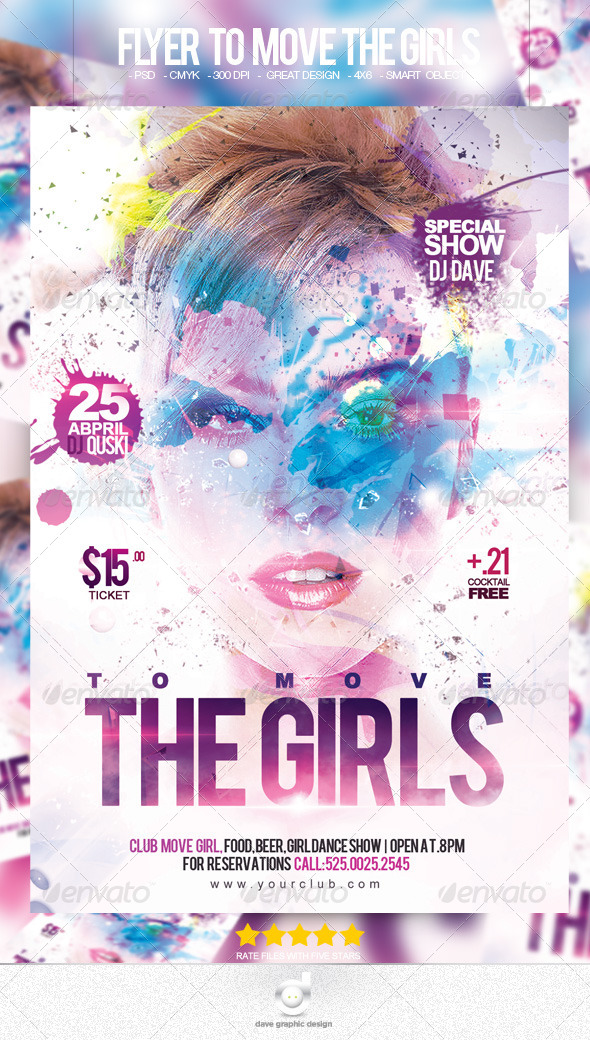 Flyer To Move The Girls Party - Clubs & Parties Events