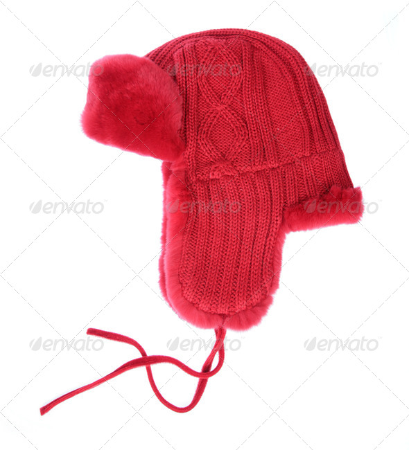 Red fur cap on a white background - Stock Photo - Images