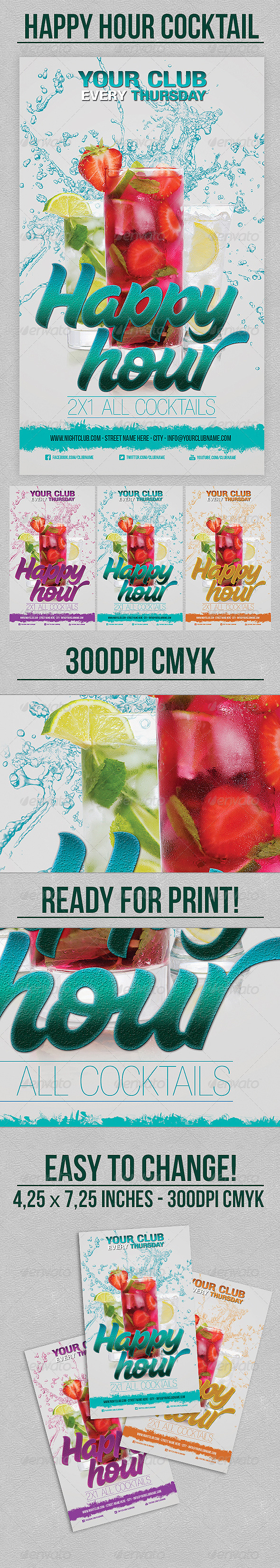 Happy Hour Cocktail - Flyers Print Templates