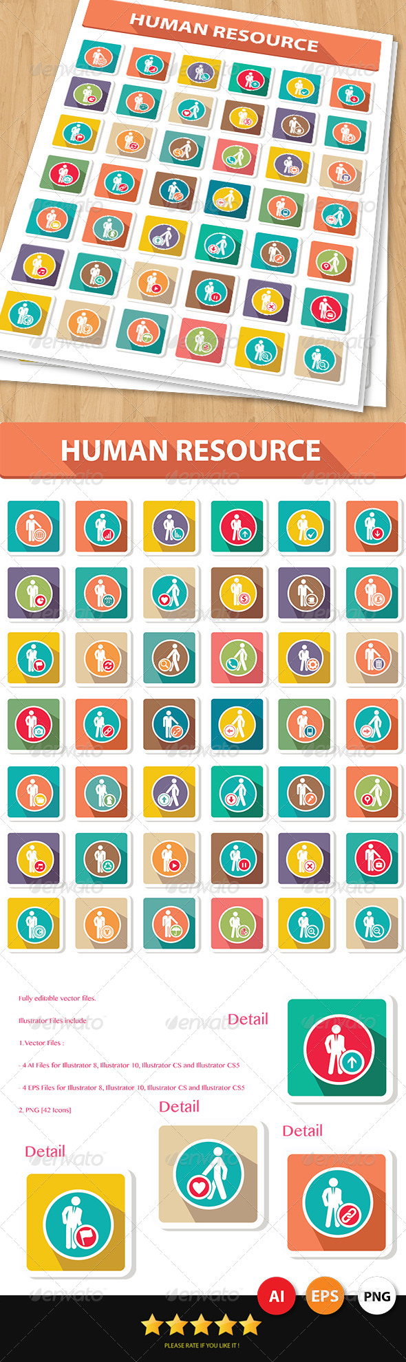 42 Human Resource Icons - People Characters