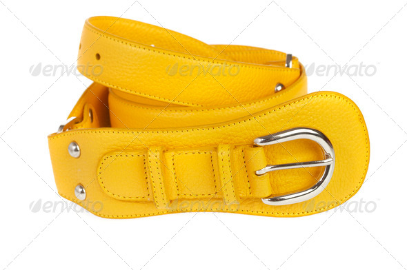 Yellow belt on a white background - Stock Photo - Images