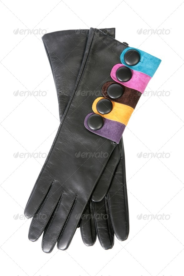 Female leather gloves on a white background - Stock Photo - Images