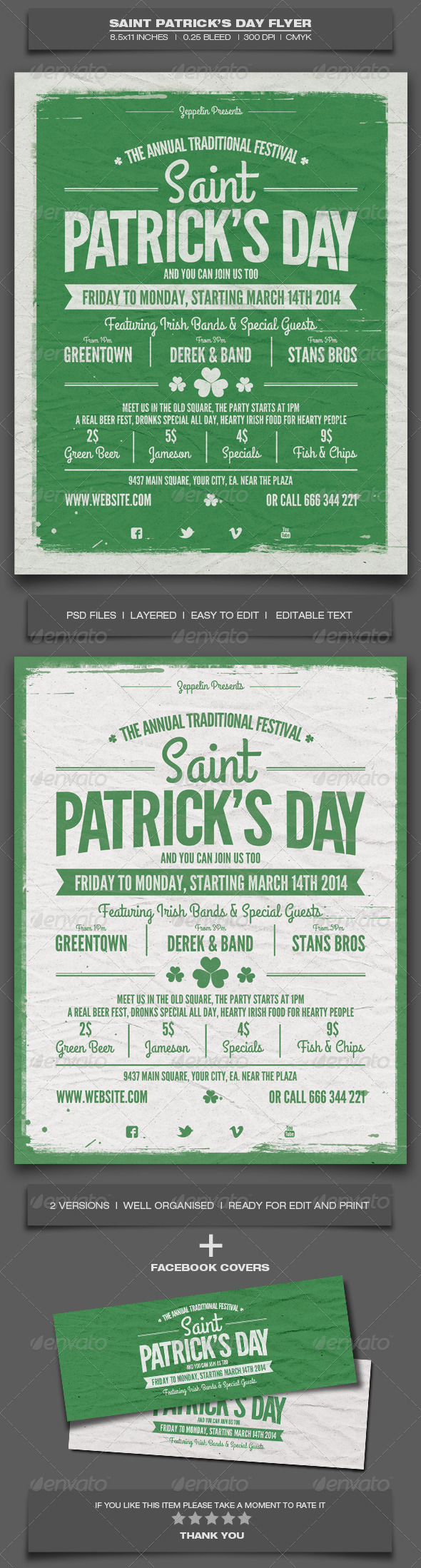 Saint Patrick's Day Flyer Template - Holidays Events