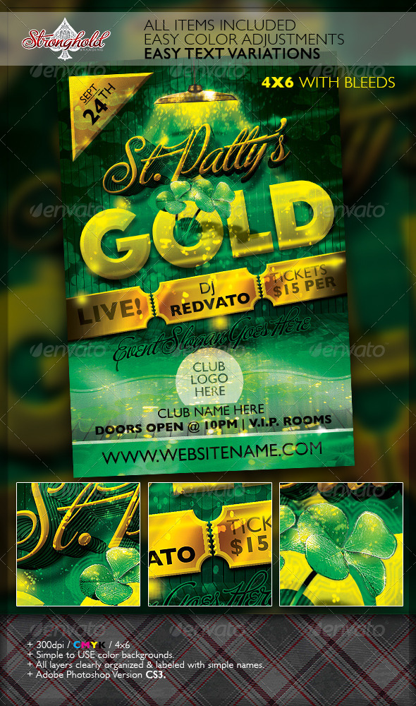 St. Patrick's Day Gold Event Flyer Template - Holidays Events