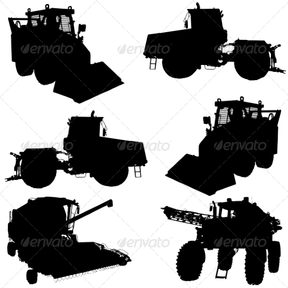 Agricultural Vehicle Silhouettes Set - Industries Business