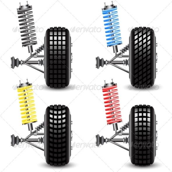 Car Front Suspension Set - Web Elements Vectors