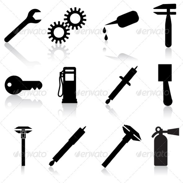 Auto Car Repair Service Icon Symbols - Web Elements Vectors